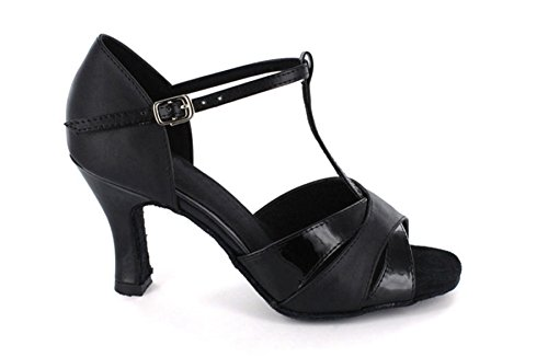 Design Shoes Salsa Black Strap Latin Ballroom Satin MINITOO Dance Fashion T Sandals Toe Women's Open xXFwA