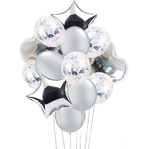 (14 Pieces Party Balloons Silver Latex Balloons Confetti Balloons and Star Heart Foil Balloons Birthday Party Decoration Kids Baby Shower Wedding Supplies)