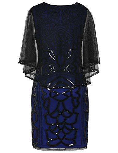 Sin Negro Prettyguide Mangas Vestido Mujer Cóctel Para Azul vFF4Yx