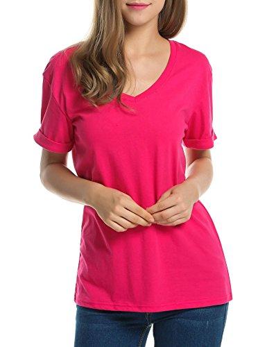 Manica Shirt Tinta Scollo Tinta Meaneor Rose Corta Unita Unita da Red Donna 5d8xBnf