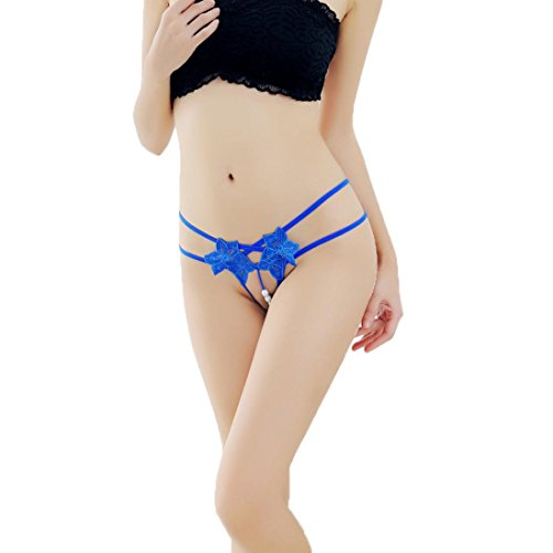 Snowfoller Sexy Ladies Pendant Pearl G String Bandage Hollow Out V-String Women Panties Low Waist Underwear -