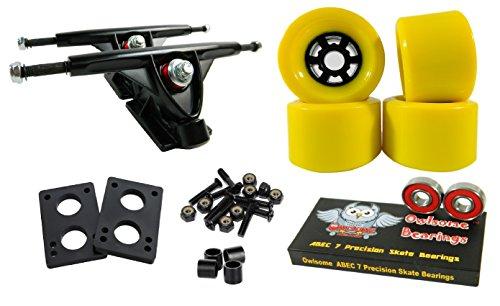 Longboard 180mm Trucks Combo w/83mm Flywheels + Owlsome ABEC 7 Bearings (Yellow)