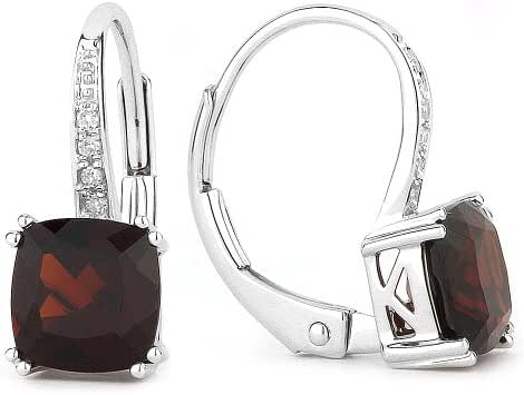 Natural 2.78ct Cushion-Cut Gemstone & Diamond Accented Lever-Back Earring Set In 14K Gold