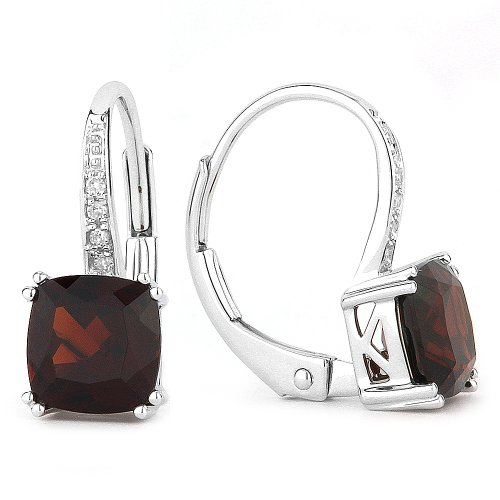 Garnet Gemstone & Accented Diamond Dangle-Earring Set In 14K White-Gold by Eros' Iced Showroom