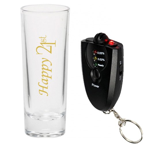 Drink Up. 21st 2 oz. Shooter Shot glass Birthday Gift Part Twenty One with Breathalyzer (Gold) by Drink Up.