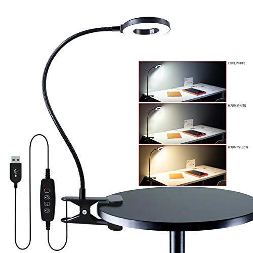 Clip on Lamp,Eye-Caring Dimmable Book Light for Reading in Bed Artwork Bedside,360 Flexible Gooseneck Desk Lamp, 3-Light Mode