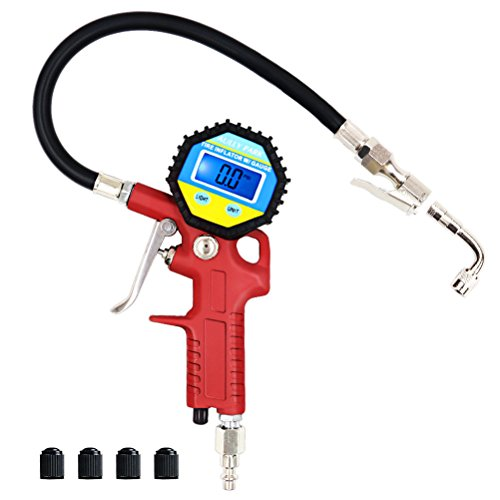 Teflon Nozzle Gasket (AULLY PARK Digital Tire Pressure Gauge wih Straight Lock-On Air Chuck 90 Degree Valve Extender 4 Black Plastic Valve Caps, Digital Tire Inflator with Hose)