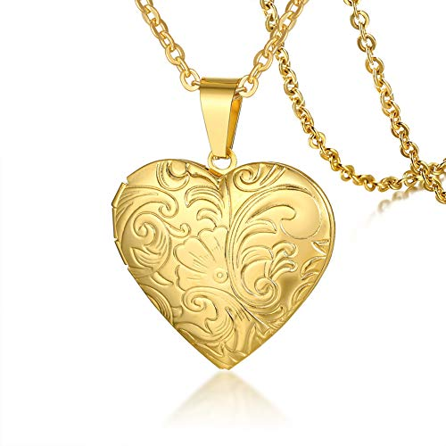 SIRNJ Forever Love Gold Stainless Steel Heart Locket Necklace Pendant That Holds Pictures with Floral Design