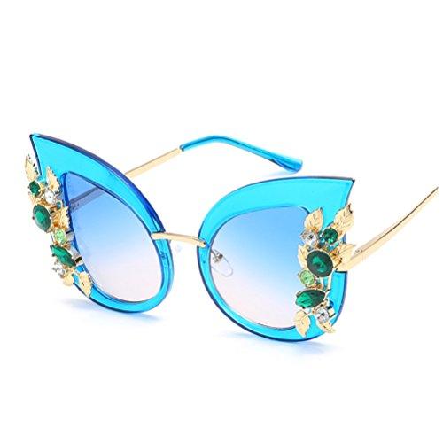 Marco Sol Sol Diamond Rojo Frame de de Moda de Mujer Sol ZYXCC YANJING Personalidad Gafas Color UV Gran de de Gafas Nuevo de Protección Gafas Verde de de qpngEYwT
