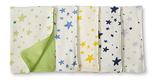 Moon and Back by Hanna Andersson Baby 5-Pack Organic Cotton Reversible Burp Cloth, Blue, One Size ()