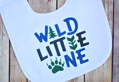 Baby Bib for Boys - 1st Birthday Party Smash Cake Bib - Wildlife Theme - Forest, Bear, Trees Wild - Personalized Bib Birthday 1st