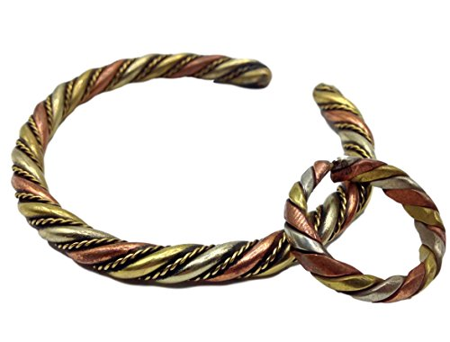 Tibetan Three Metal Healing Medicine Bracelet and Ring Set with Copper. Unisex, Helps Relieve Arthiritis and Tendon Pains