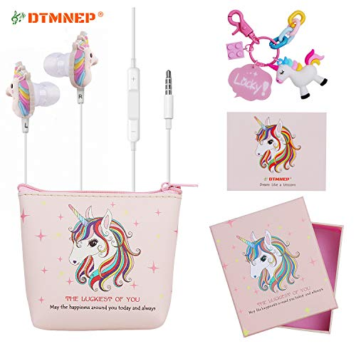 DTMNEP Unicorn Earbuds Earphones for Girls Kids Compatible with Apple Android with Unicorn Key Chain, Headphone Bag, Gift Card, Gift Box, and Back to School Supply for Kids