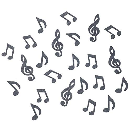 We Moment Black Glitter Music Clef Note Confetti Circles,Paper Table Confetti for Music Party,Music Themed Events,Rock Star Party, Karaoke Party,Pack of 100 ()