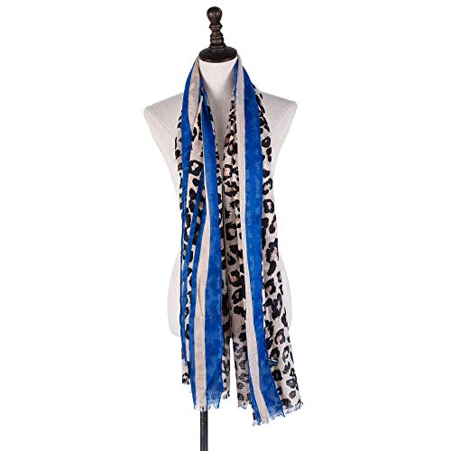 - Ruanyi Satin Linen Scarf Leopard Print Border Ladies Autumn Winter Classic Scarf Shawl for women (Color : Blue, Size : 100180cm/3970in)