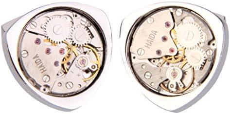 【ノーブランド 品】1組 ヴィンテージ スチームパンク 時計ムーブメント 歯車 三角 カフスボタン カフス シルバー
