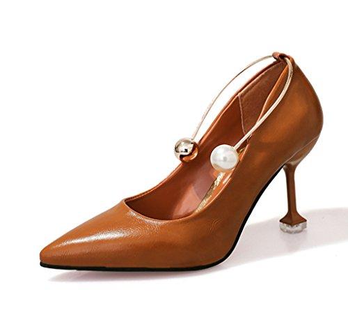 LBDX de Talón Fino Boca Zapatos Versión Moda Finos Primavera Baja Puntiagudo Mujer Marrón Tacones Sexy Verano de Coreana y E7EPqwr