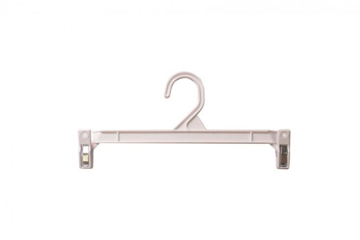NAHANCO H211W Pinch Clip Plastic Hook Skirt/Slack Hanger, 11 1/2'', White (Pack of 100)