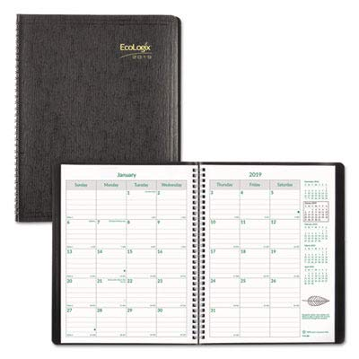 Rediform CB435WBLK EcoLogix Recycled Monthly Planner, 11 x 8-1/2, Black Soft Cover, 2016