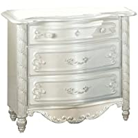 Furniture of America Nathalia Fairy Tale Style 3-Drawer Nightstand, Pearl White Finish