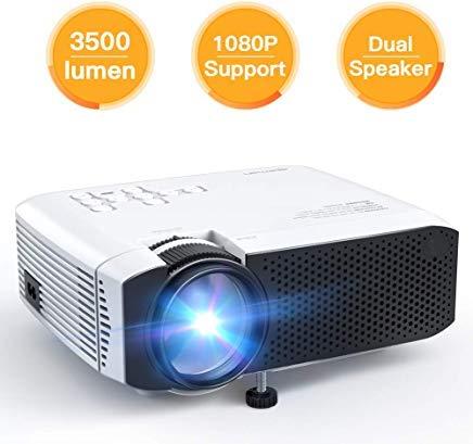 プロジェクター APEMAN ミニポータブルビデオプロジェクター 3500ルーメン LED デュアル内蔵スピーカー 45000時間 HD 1080P HDMI/VGA/Micro SD/AV/USB ノートパソコン/TVボックス/電話/PS4対応 ホームシアターエンターテイメント用