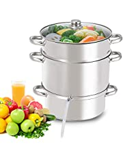 Giantex 11 Quart Juice Steamer Fruit Vegetables Juicer Steamers w/ Tempered Glass Lid, Hose, Clamp, Loop Handles Stainless Steel Steam Juicer Multipots Kitchen Cookware for Making Juice, Jelly, Pasta