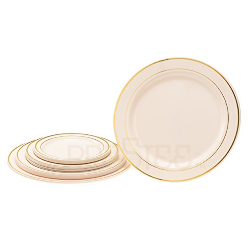 DELUXE PLASTIC PARTY DISPOSABLE PLATES | 10.25 Inch Hard Wedding Dinner Plates | Ivory with Gold Rim, 20 Pack | Elegant & Fancy Heavy Duty Party Supplies Plates for all - Rim Cream