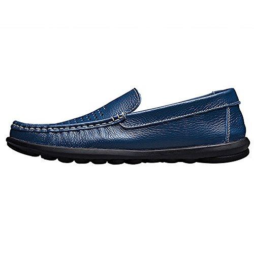 rismart Homme Respirant Creux Glisser Sur Qualité Supérieure Cuir Mocassins Loafer Flats 8377-2(Bleu,EU40)
