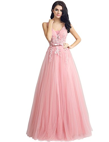 Sarahbridal Juniors Tulle Sequin Prom Ball Dresses Long Lace Applique Miad of Honor Gowns Elegant Pink US10