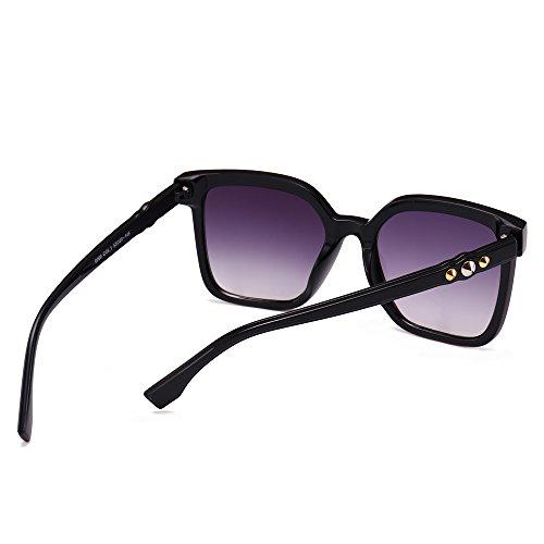 de Sobredimensionado Sunglasses de de Mujeres Tan Gafas Gafas Leopard TL Piazza Negro UV400 Remache para Sol HfEqpwT