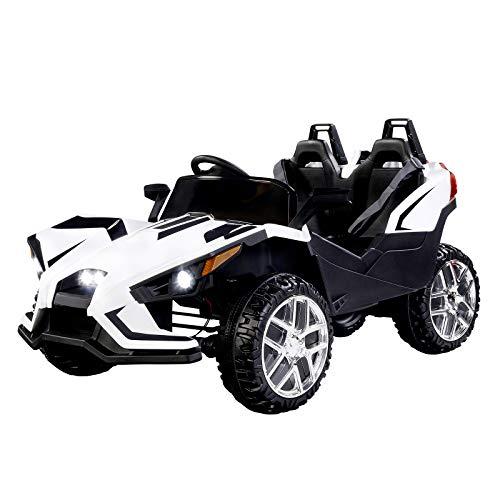 - Uenjoy 2 Seats Kids Car 12V Ride On Racer Cars w/Remote Control,Spring Suspension Wheels,4 Speeds,LED Lights,Music,White