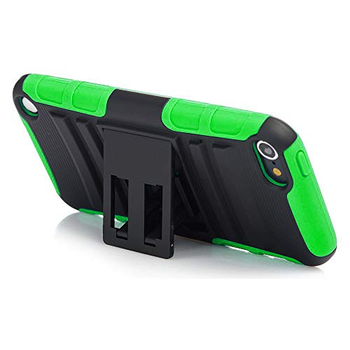 ation Case, Rugged Hybrid Dual Layer Protection Kickstand Full Cover Case with Video Watching Stand for Apple iPod Touch 6 6th Gen 5 5th Gen (Green) ()