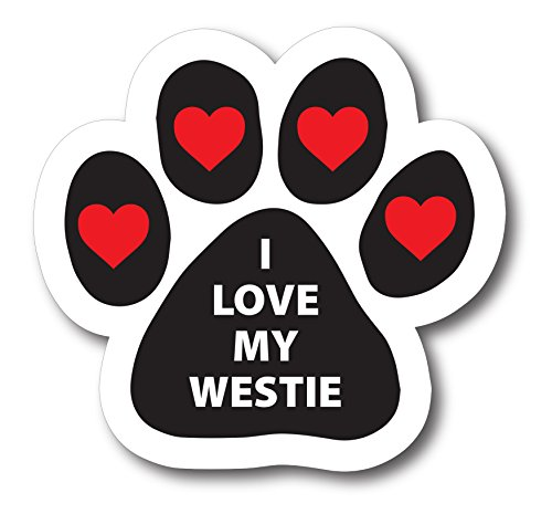 (Magnet Me Up I Love My Westie Pawprint Car Magnet Paw Print Auto Truck Decal Magnet)