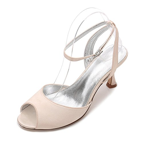 L@YC Boda Para Mujer E17061-18 Sandalias Peep Toe Ladies Low Heel Nupcial Strappy Party Shoes Tamaño Champagne