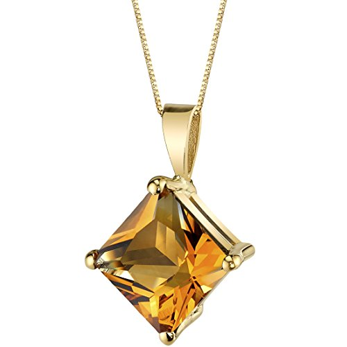 - 14 Karat Yellow Gold Princess Cut 2.25 Carats Citrine Pendant