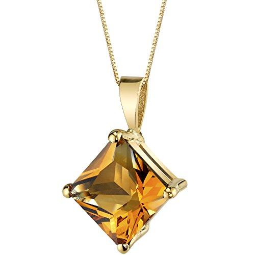 - 14 Karat Yellow Gold Princess Cut 2.25 Carats Citrine Pendant