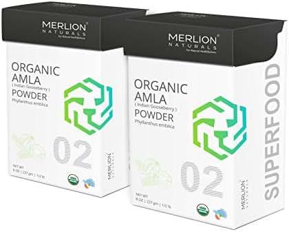 Organic Amla Powder by Merlion Naturals | Philanthus emblica/Indian Gooseberry | 454gm/ 16OZ/ 1lb | USDA NOP Certified 100% Organic (2 Pack of 227gm)