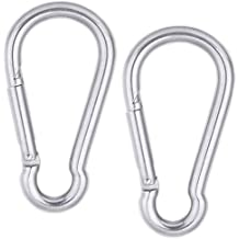 """2.34/""""//59.5mm Stainless Steel Carabiner Spring Snap Link Hook Clip Keychain 5 Pcs"""