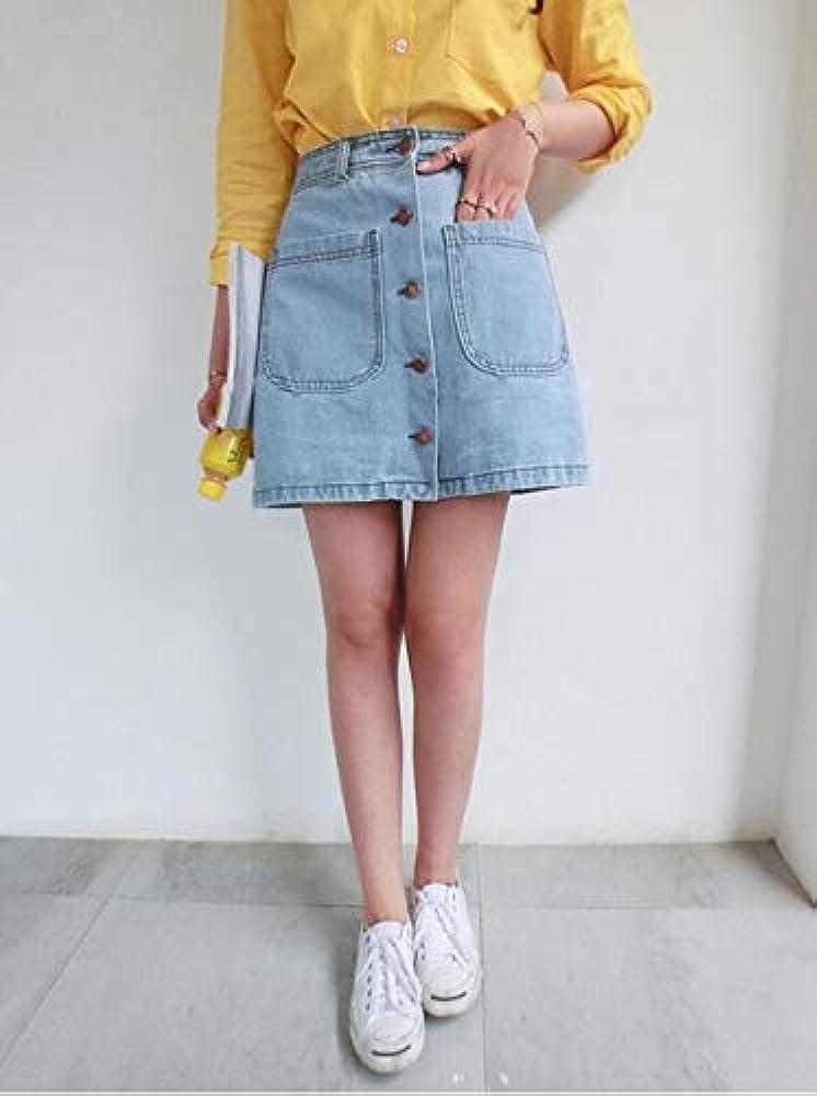 Verano Coreano Mini Denim Jeans Falda Delgada Cintura Faldas ...