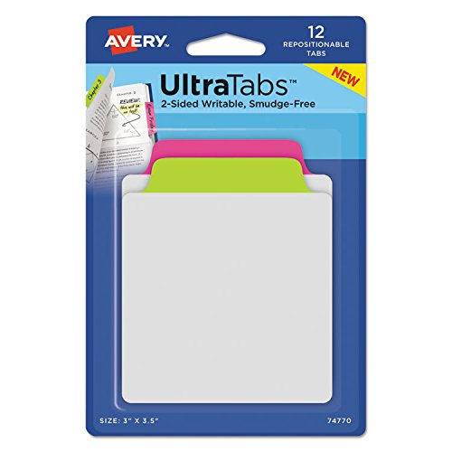 Avery 74771 Ultra Tabs Repositionable Tabs 3 x 3 1/2 Primary: Blue Yellow 12/Pack