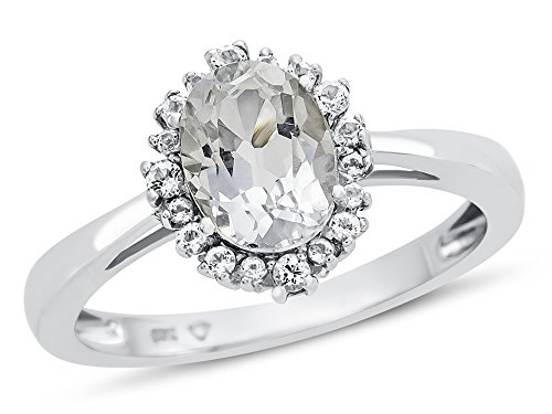 Finejewelers 10k White Gold 8x6mm Oval White Topaz with White Topaz accent stones Halo Ring Size 5 ()