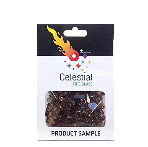 Celestial Fire Glass - Cosmic Copper - 1/4 Inch Reflective Tempered Fire Glass – 2 oz. Sample