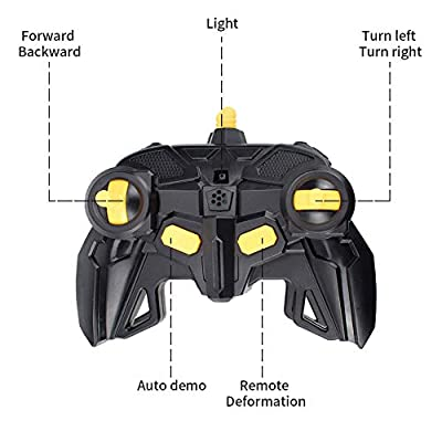 Cargooy RC Deformation Car Robot Toy for Kids, Safe Transformed Gesture Sensing One-Button Deformed Realistic Engine Sound,1:14 Scale 360° Auto Performance 2.4GHz Stunt Car,Best Gift for Boys (Black): Toys & Games