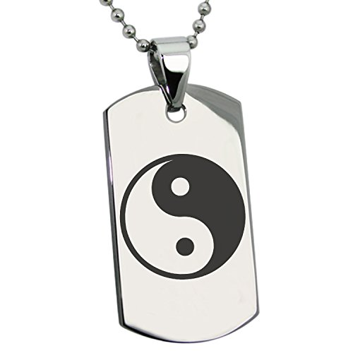 Tioneer Stainless Steel Yin Yang Symbol Engraved Dog Tag Pendant Necklace ()