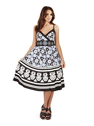 Vestido Veraniego para Dama Pistachio Plisado a la Rodilla Negro y Azul