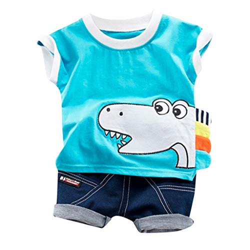 YESOT 2 PCS Cartoon Outfits for Baby Boys Toddler Kids Print T Shirt Tops Jeans Shorts Baby Clothes for Independence Day (2-3 Years, Blue) ()