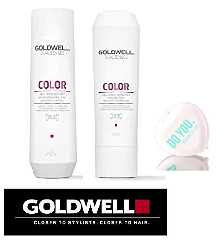 Goldwell Dualsenses Color Brilliance Shampoo & Conditioner DUO Set (with Sleek Compact Mirror) (10.1 oz / 300ml ()
