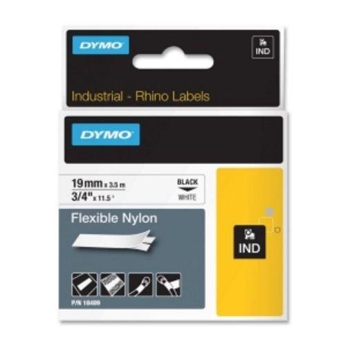 Dymo 18489 Rhino Flexible Nylon Industrial Label Tape Cassette, 3/4in x 11-1/2 ft, ()