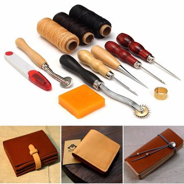 Instrument Biff Carver - 13pcs Wood Handle Leather Craft Tool Kit Hand Sewing Punch Cutter Diy Set - Puppet Perforate Peter Pecker Prick Poke Cutlery Creature Plug Dick Lick by Unknown