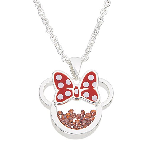 Minnie Mouse Silver Plated January Garnet Red Cubic Zirconia Pendant Necklace